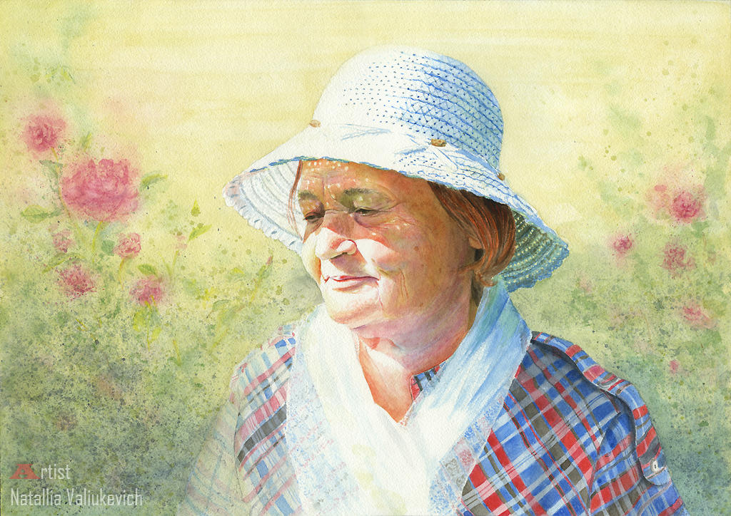 Nostalgia. Watercolor portrait. by NatalliaValiukevich