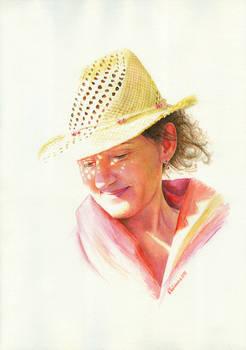 Coquette.  Watercolor portrait