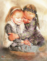 Sisters. Traditional watercolor. by NatalliaValiukevich