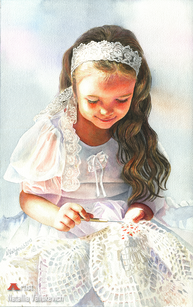 The Lacemaker. Watercolor. by NatalliaValiukevich