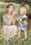 Trumpeters in daisies. Watercolor