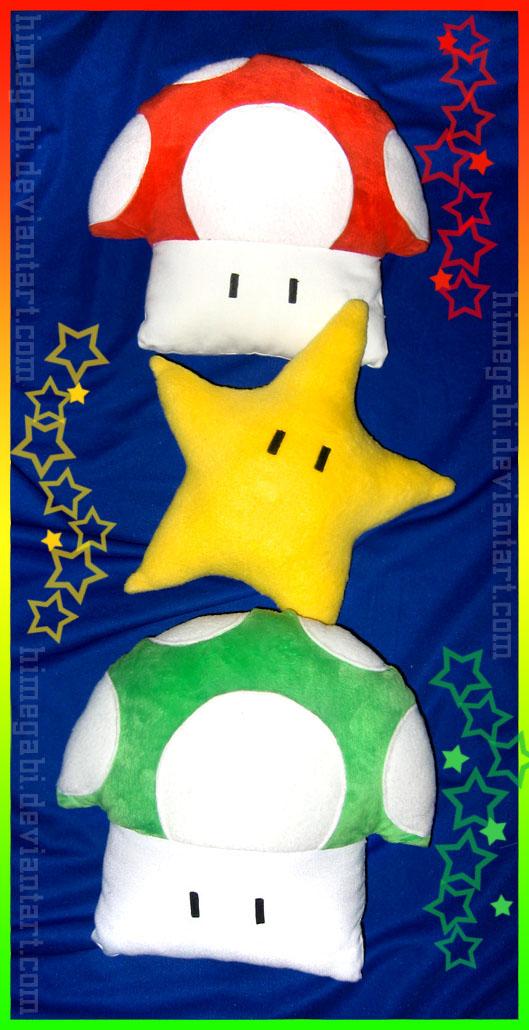 Mario Mushrooms Star Pillows by HimeGabi