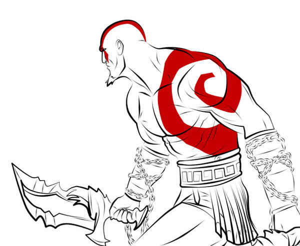 Line Art God Images : Kratos line art by mixere on deviantart