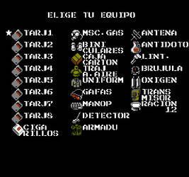 Metal Gear (NES) Spanish Equipment Select Menu by Nosidex