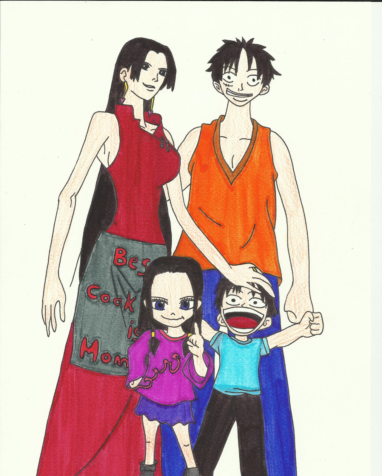 Luffy and boa family portrait by zlizroswell on deviantart - One piece luffy x hancock ...