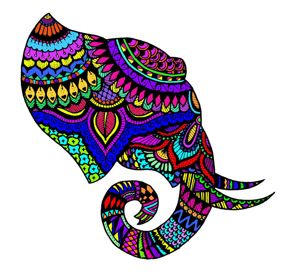 Colorful Tribal Elephant Drawing