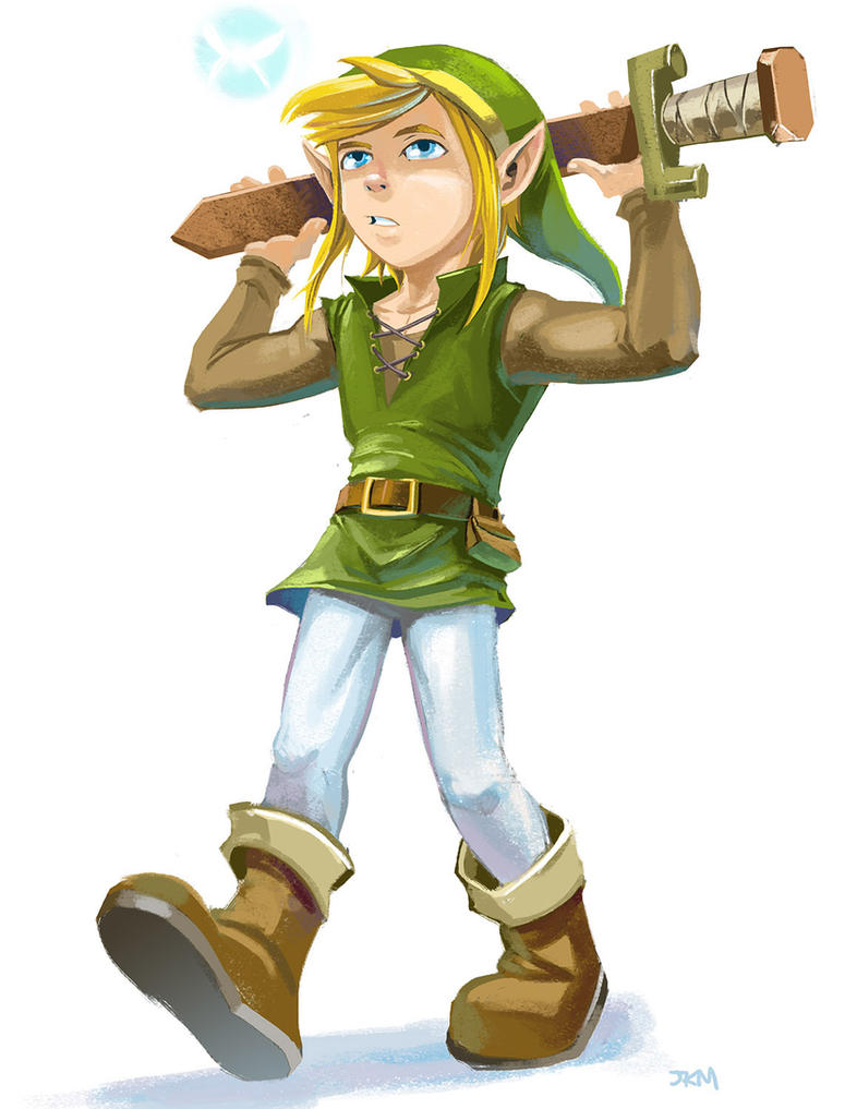 Link With his wooden sword by lazesummerstone