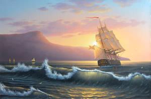 Charm of sea dawning by uvar