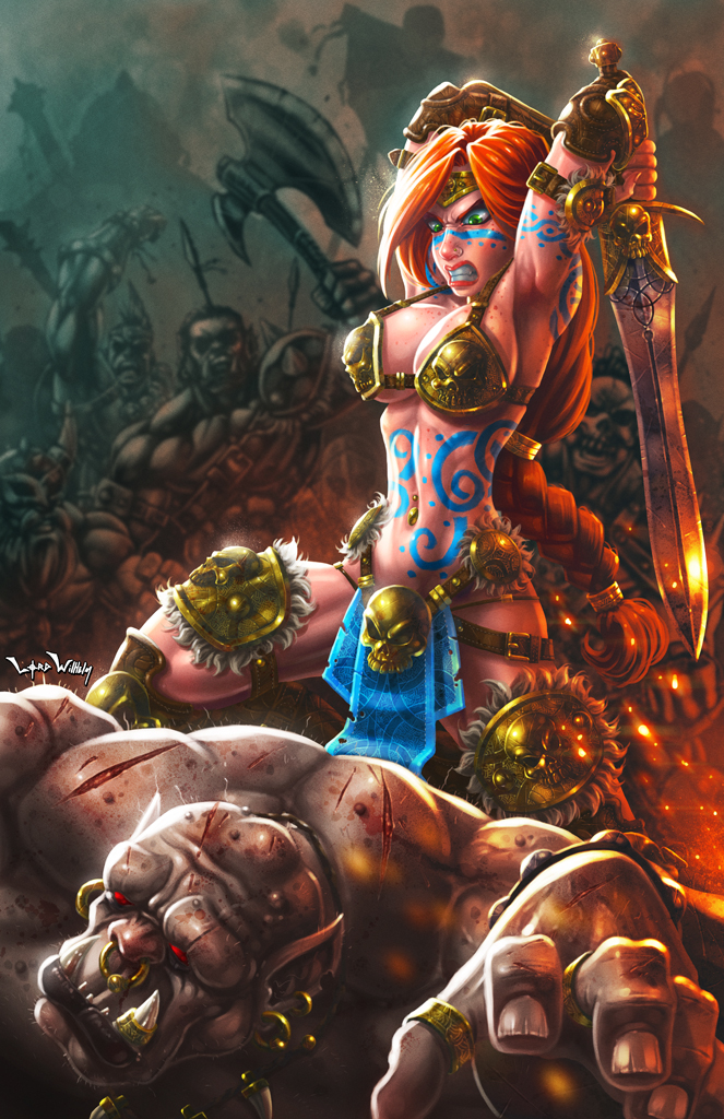 Warrior Princess vs Ogre by LordWilhelm