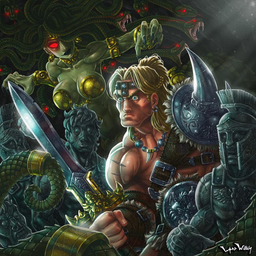 Barbarian meets Medusa by LordWilhelm