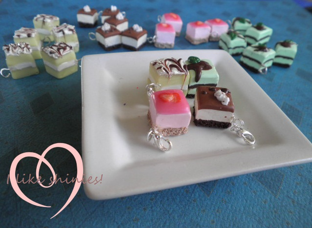Petit four charms by ilikeshiniesfakery