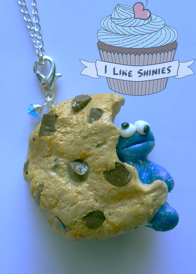 Cookie monster necklace by ilikeshiniesfakery