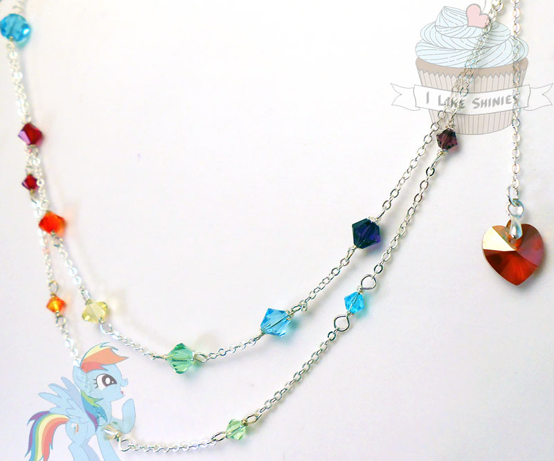 Rainbow Dash- Crystal Empire inspired necklace by ilikeshiniesfakery