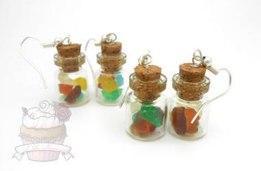 Gummy bear candy jar earrings by ilikeshiniesfakery