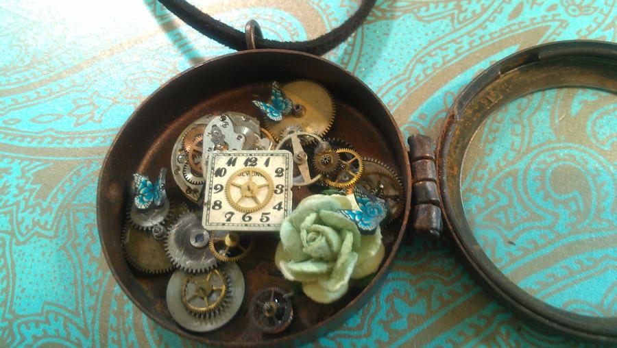 Steampunk Locket Blue Butterflies Rose Necklace by xxPRECIOUSMOMENTSxx