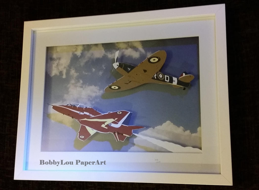 Spitfire and Hawk papercut by StrandedAutumn