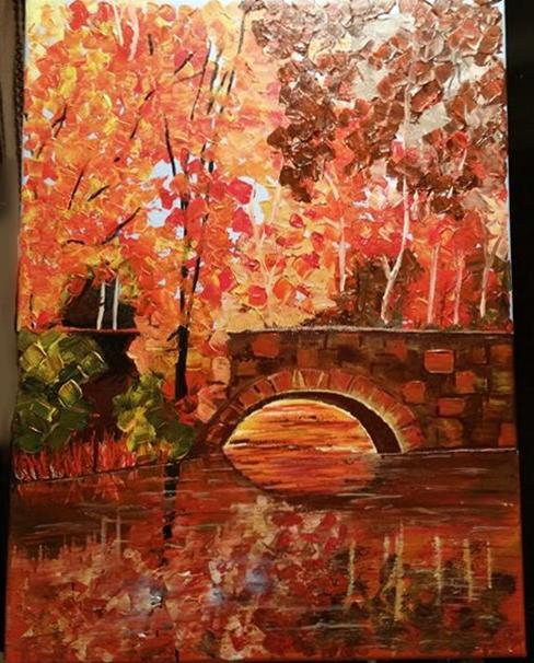 Autumn Reflections - acrylic on canvas by StrandedAutumn