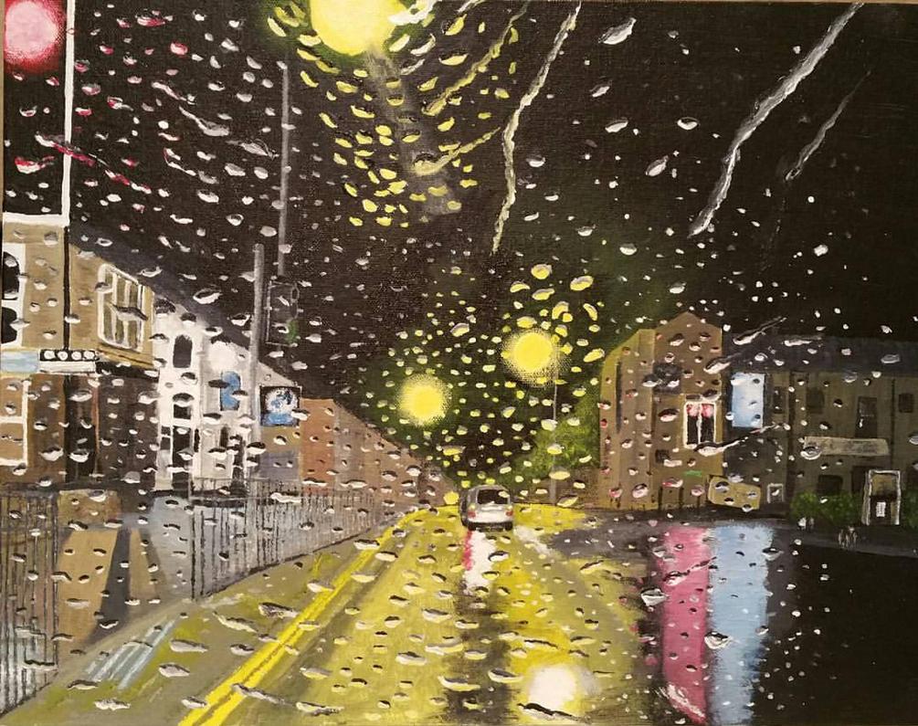 'Rainy Night in Harwood' Acrylic on canvas' by StrandedAutumn
