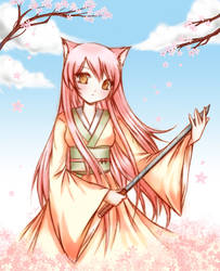 Cherry Blossom Kitsune by strawberrycake