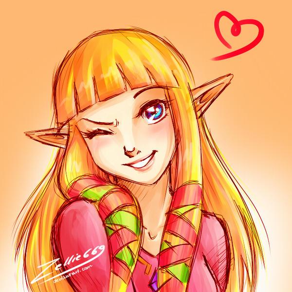 Skyward Sword Zelda: wink by Zelbunnii