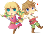 Skyward Sword: Chibi Link and Zelda