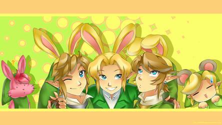 Link x 5: Happy Bunny Day by Zelbunnii