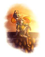 Twilight Princess: Link + Midna by Zelbunnii