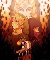 Twilight Princess: Link + Zelda + Midna by Zelbunnii
