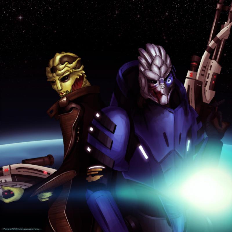 Mass Effect: Thane and Garrus by Zelbunnii