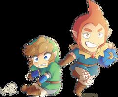 Skyward Sword: Chibi Link and Groose
