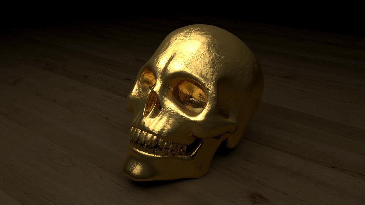 gold skull by polygonbronson on deviantart. Black Bedroom Furniture Sets. Home Design Ideas