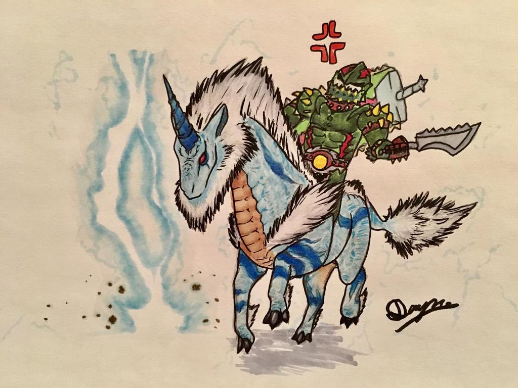 Riding the bigass lightning unicorn by dinomaster15
