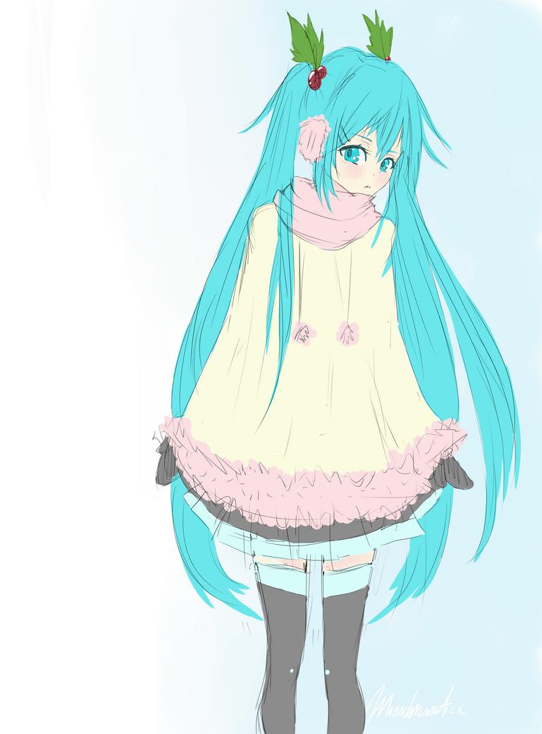 Winter Miku Doodle by Monochromaticx