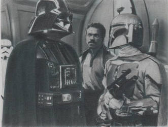 Star Wars Vader Boba Fett Sketch Card by TRENTBRUCE