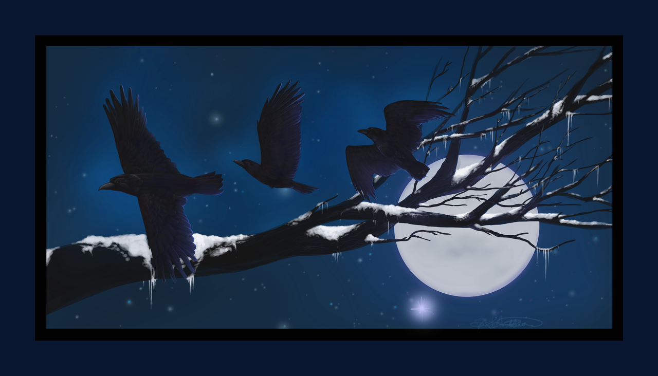 Ravens in Winter by ElysianImagery