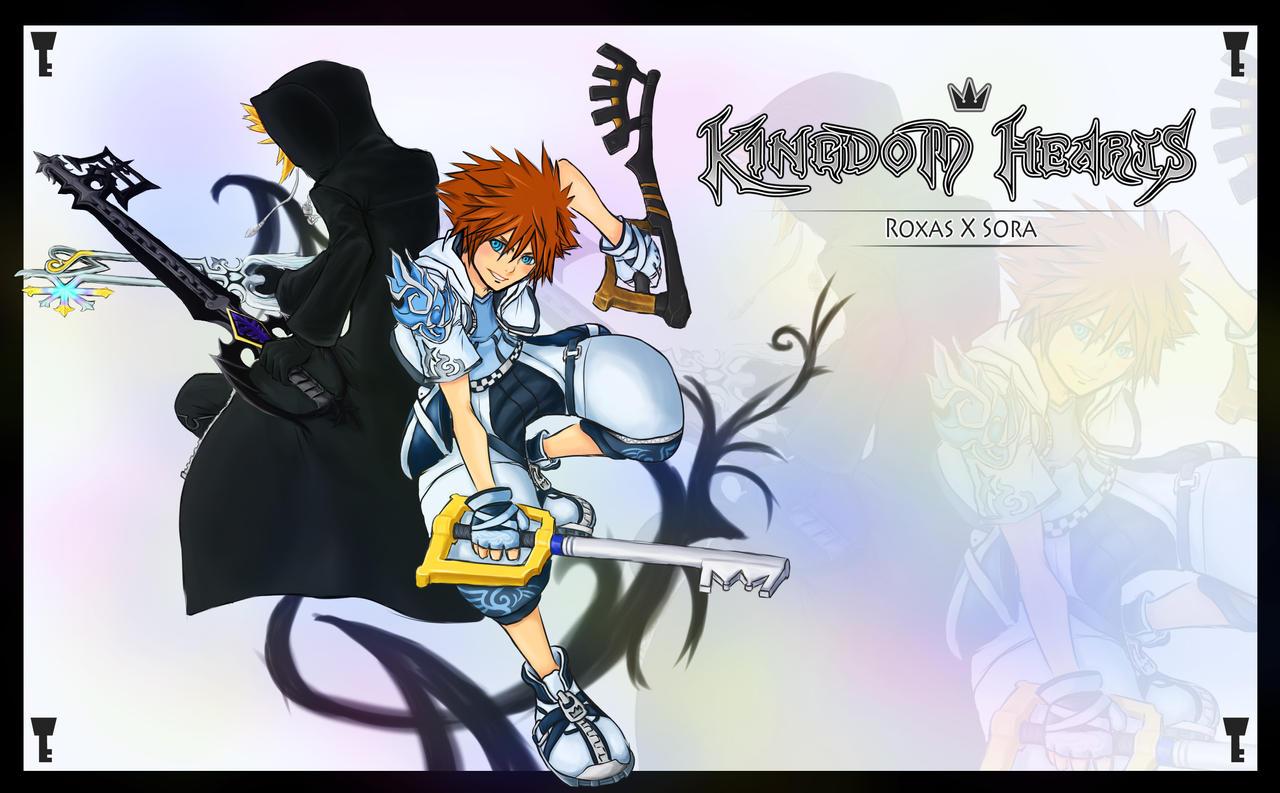 Sora Kingdom Hearts Lineart : Kingdom hearts roxas sora by marshal on deviantart