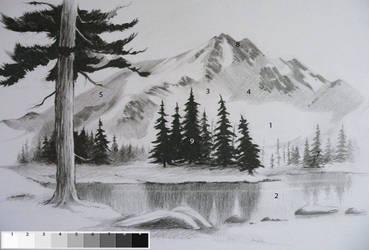 pencil-drawn landscape