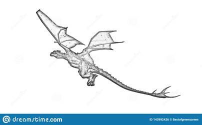 Dragon-cartoon with shading pencils