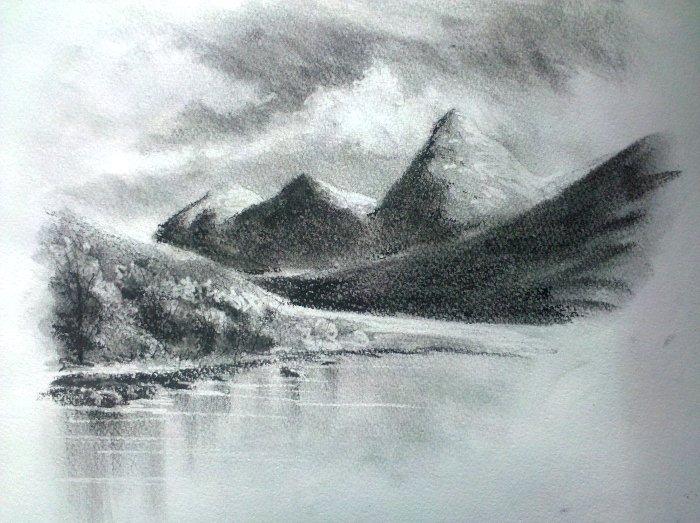 Landscape in charcoal by ronnietucker on DeviantArt