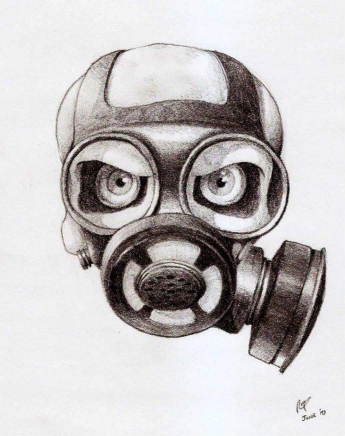 Skull Gas Mask Drawing...