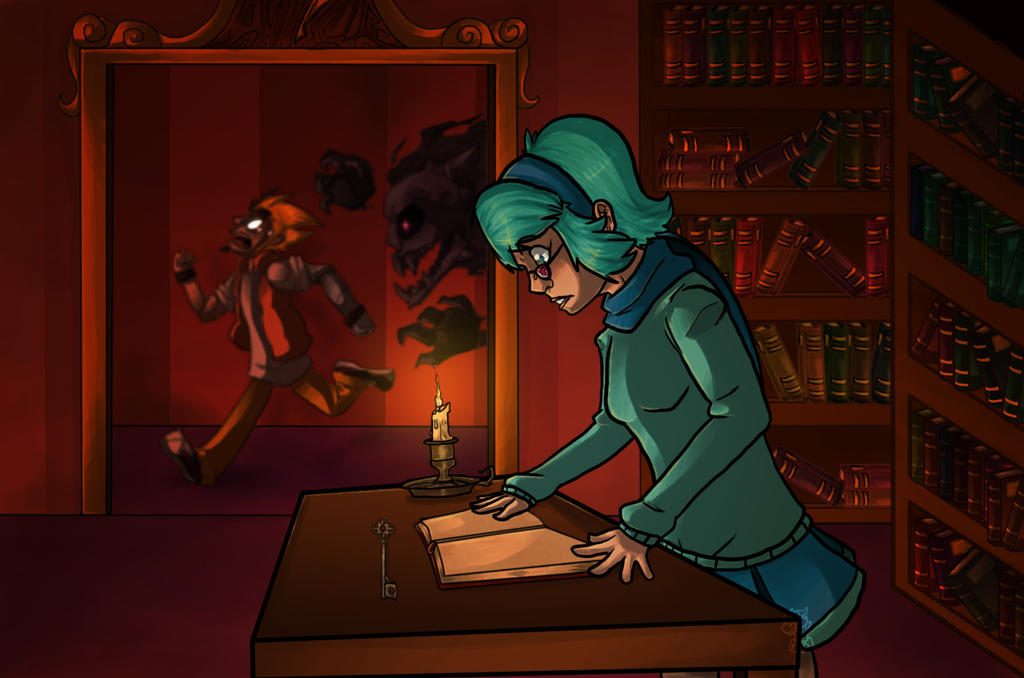 Vivi in the haunted library and Arthur to! by paristhedragon