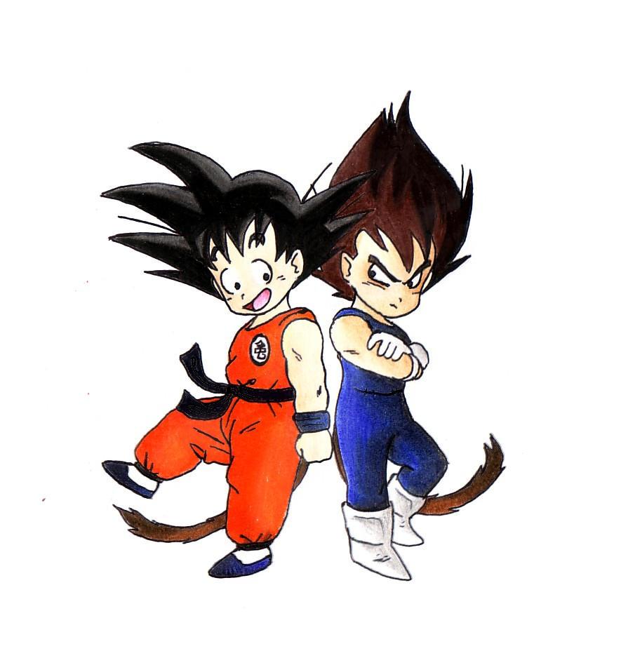 Kid Goku And Kid Vegeta Chibi Saiya jin...