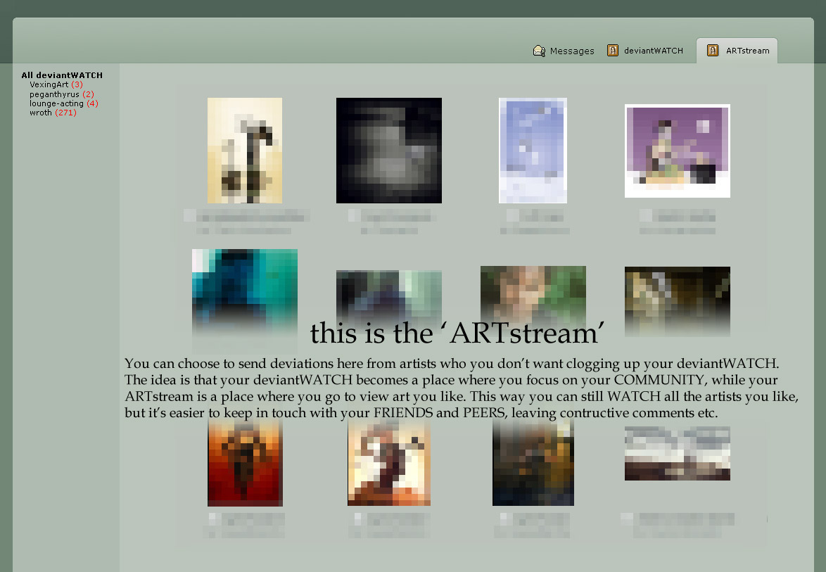 deviantart concept - ARTstream by thespook