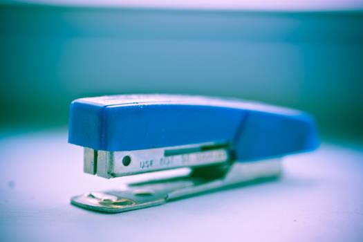 blue stapler.