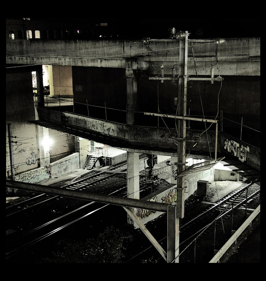 Box Hill Station by night by thespook