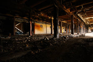 gutted, old AMCOR papermill by thespook