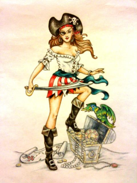 Pirate girl pin up drawing - photo#3