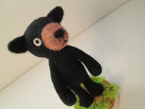 Needle Felted Black Bear Soft Sculpture