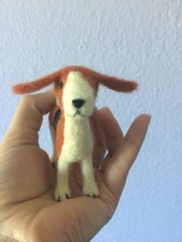 Needle felted dog, beagle or fox hound