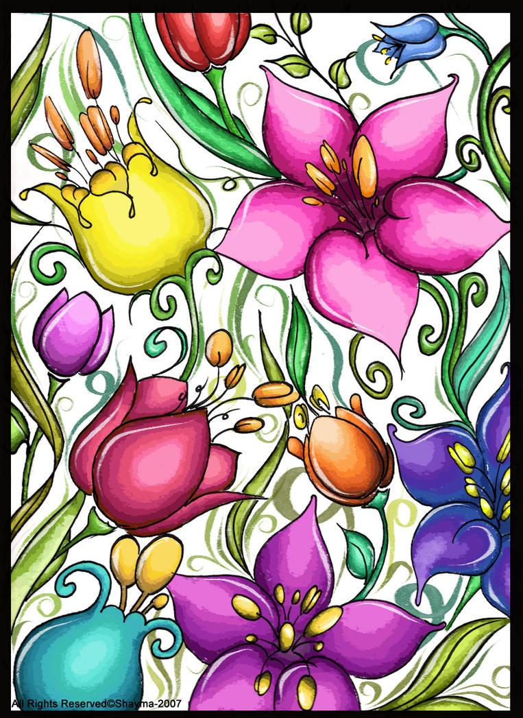 Tropical Flower Drawings Tropical